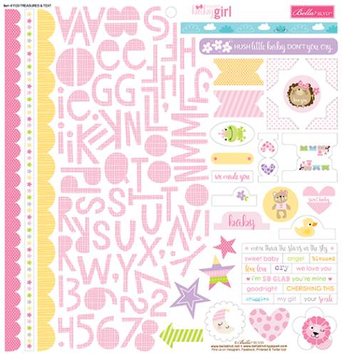 Sweet Baby Girl Treasures & Text 12x12 Sticker