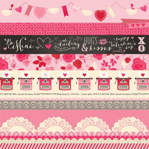 Blowing Kisses - Valentine Borders Paper