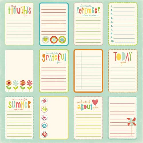 Sweet Summertime - Journal Paper Card