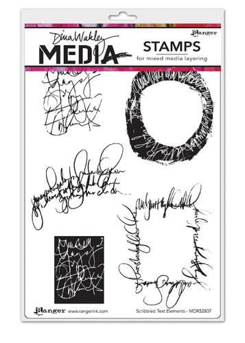DW Scribbled Text Elements Cling Stamps