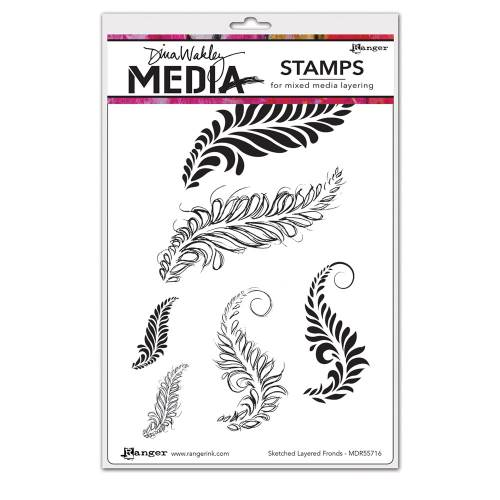 Sketched Layered Fronds Dina Wakley Media Stamp