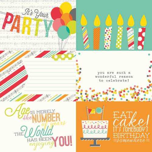 Let's Party - 4x6 Horizontal Journaling Card Elements Paper